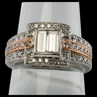 Designer Estate Jewelry Simon G Platinum Rose Gold .75ct Diamond Ring