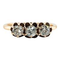 Old mine Diamond Ring Band 14K Gold Victorian .75 TDW