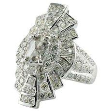 Rose cut Diamond Ring 18K White Gold Cocktail Vintage 3.00 TDW