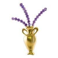 Tiffany & Co Amethyst Brooch Pin Vase 18K Gold