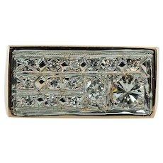 Mens Diamond Ring 14K Gold Band Vintage .76 TDW