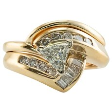 Trillion Diamond Ring 14K Gold 1.16 TDW Engagement