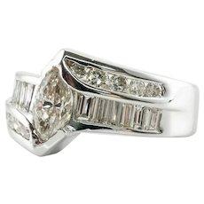 Diamond Ring 18K White Gold Marquise cut Engagement