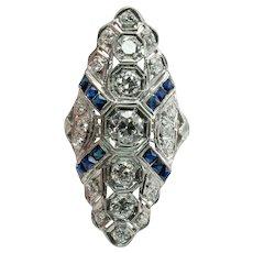 Diamond Sapphire Ring Platinum Edwardian Antique c.1910s