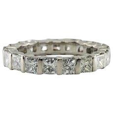 Diamond Ring 14K White Gold Eternity Band 4.18 TDW Size 6