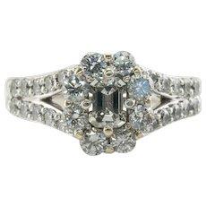 Diamond Ring 14K White Gold Band 1.36 TDW Engagement