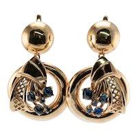 Natural Sapphire Earrings Drop Dangle 14K Gold Vintage