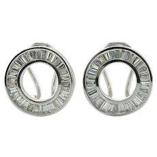 Circle Diamond Earrings 18K White Gold 1.45 TDW