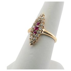 Diamond Ruby Ring Old Mine cut 14K Gold Untreated Victorian