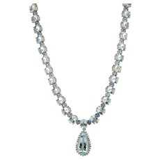 Tanzanite Diamond Aquamarine Necklace 14K White Gold Choker