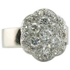 Diamond Ring Old Mine 14K White Gold Vintage Cluster