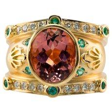 Etruscan Pink Tourmaline Zircon Diamond Ring Band NG 18K Gold