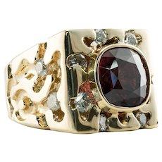 Mens Natural Spinel Diamond Ring 14K Gold