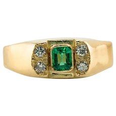 Diamond Colombian Emerald Ring 18K Gold Band