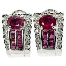 Diamond Ruby Earrings 18K White Gold Estate