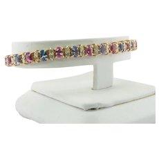 Blue Pink Sapphire Diamond Bracelet 14K Gold
