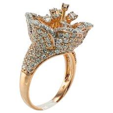 Natural Diamond Ring Pave 18K Rose Gold 3.32 TDW Flower