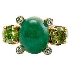 White & Canary Diamond Emerald Ring 18K Gold Italy