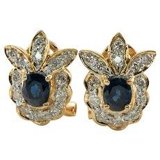 Diamond Sapphire Earrings Flower 18K Gold