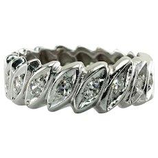 Eternity Diamond Ring Platinum Band Single cut .90 TDW