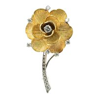 Diamond Tiffany & Co Rose Flower Brooch Pin 18K Gold