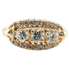 Diamond Ring 14K Gold Three stone Band 1.23 TDW
