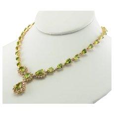 Diamond Peridot Necklace Choker 14K Gold