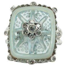 Diamond Carved Aquamarine Ring 18K White Gold
