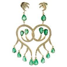 Diamond Emerald Earrings 18K Gold Dangle Chandelier
