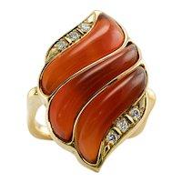 Carnelian Diamond Ring 18K Gold Square Band Agni Fire Flame