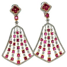 Diamond Untreated Ruby Dangle Earrings 18K White Gold Pierced and Non pierced