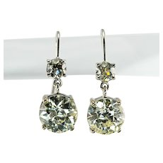 Old European Diamond Earrings 14K White Gold 4.50 TDW