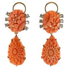 Diamond Carved Coral Earrings Dangle 14K Gold