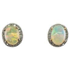 Diamond Opal Studs Earrings 14K Gold Hallmarked EMA