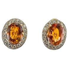 Diamond Madeira Citrine Earrings 14K Gold Omega Locks