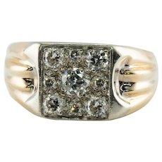 Mens Diamond Ring 14K Gold Band Old Mine .93 TDW Vintage