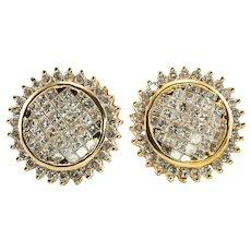 Cluster Diamond Earrings 14K Gold Studs 2.00 TDW