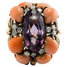 Diamond Amethyst Coral Ring 14K Gold