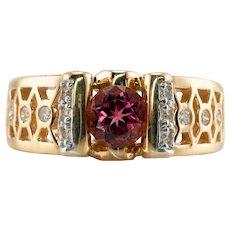 Diamond Pink Tourmaline Ring 14K Gold Band