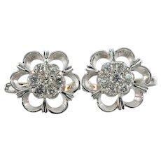 Diamond Earrings 14K White Gold European Locks .74 TDW