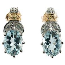 Diamond Aquamarine Earrings 14K White and Yellow Gold