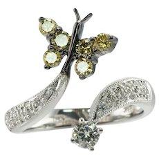Diamond Ring Butterfly 18K White Gold
