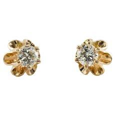 Diamond Earrings Studs 14K Gold Vintage .50 TDW