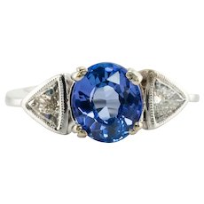 Trillion Diamond Ceylon Sapphire Ring 18K White Gold Band