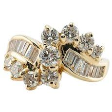 Natural Diamond Ring 14K Gold 1.85 TDW Vintage