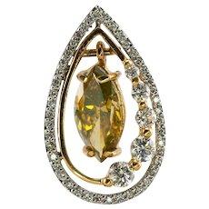 Champagne Marquise Diamond Pendant Slide 2.04 TDW 14K Gold