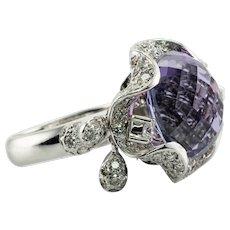 Diamond Amethyst Ring 18K White Gold Moving 2.58 TDW Diamonds
