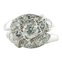 Diamond Ring 14K White Gold Vintage 1.20 TDW