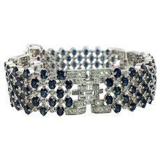 Diamond Sapphire Bracelet 18K White Gold 14.31 CTW Wide