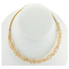 """Diamond Necklace Choker 18K Gold 15"""""""